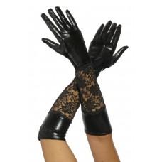 VARIOUS Wetlook-Handschuhe mit Spitze (black)
