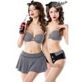 BELSIRA 3-teiliges Vintage-Bikini-Set mit Rock (black-and-white)