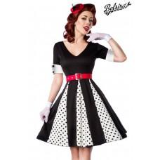 BELSIRA Godet-Kleid (white / black / red)