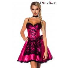 DIRNDLINE Dirndl aus Satin (pink / schwarz)