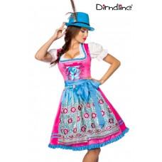DIRNDLINE Premium Dirndl (blau/pink)