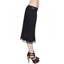 Aderlass Pretty Steampunk Skirt Pin Stripe (Black Brown)