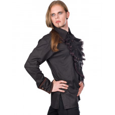 Aderlass Riffle Victorian Steam Punk Shirt (Black Brown)