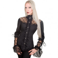 Aderlass Victorian Blouse Fine Denim (black)