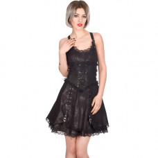 Aderlass Gather Mini Dress Art Denim (black)