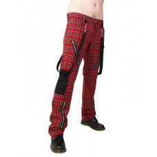 Black Pistol Punk Pants Tartan (Red Green)