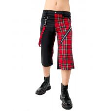 Black Pistol Zip Short Pants Tartan SALE (black red)