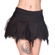 Black Pistol Drape Mini Skirt Denim (black)