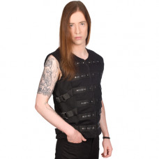 Black Pistol Button Vest Denim (black)