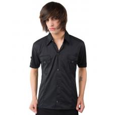 Black Pistol Cuff Shirt Fine Denim (black)