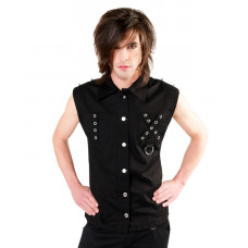 Black Pistol Punk Vest Denim (black)