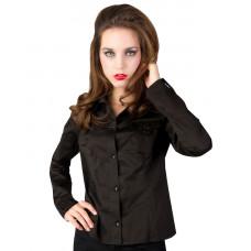 Black Pistol Sleeve Blouse Fine Denim (black)