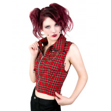 Black Pistol Punk Vest Tartan (red)