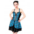 Black Pistol Punk Mini Dress Tartan (Light Blue)