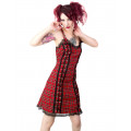 Black Pistol Eyelett Mini Dress Tartan (red)