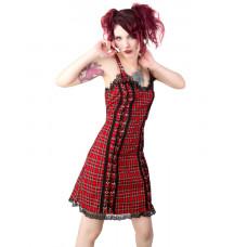 Black Pistol Eyelett Mini Dress Tartan (red)