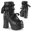 Demonia CHARADE-110 CHA110/BVL-LC (Blk Vegan Leather-Lace Overlay)