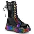 Demonia EMILY-350 EMI350/BPT-RBOWHG (Blk Pat-Rainbow Hologram w/ Hearts)