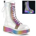 Demonia EMILY-350 EMI350/WHGVL-RBOWRFT (Wht Brushed Hologram Vegan Leather-Rainbow Reflective)