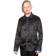 Mode Wichtig Classic Shirt Glossy Brocade (Black Blue)