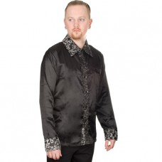 Mode Wichtig Classic Shirt Glossy Brocade (Black-Silver)
