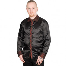 Mode Wichtig Classic Shirt Glossy Brocade (Black-Bordeaux)