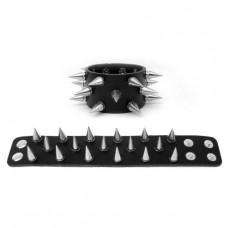 Mode Wichtig Leder-Armband Metal Killernieten (black)