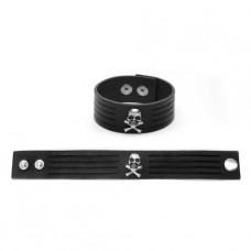Mode Wichtig Leder-Armband Metal Pirat (black)