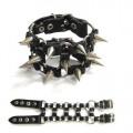 Mode Wichtig Leder-Armband Ringe Killernieten dreireihig (black)