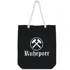Mode Wichtig City Bag Canvas RUHRPOTT 35x40x10cm (Black-and-white)