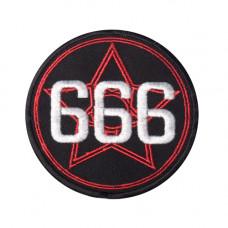 Mode Wichtig Patch Pentagram 666 Aufnäher 10cm (black)