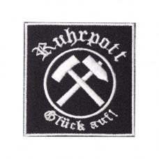 Mode Wichtig Patch Ruhrpott Glück Auf Aufnäher 7x7cm (black)