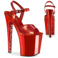 Pleaser XTREME-809TTG XTM809TTG/RMPU/RCH (Red Metallic Pu/Red Chrome-Glitter)