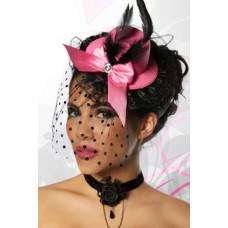 ATIXO Burlesque-Minihut / Fascinator (pink / black)