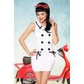 ATIXO Marinekleid (White black)