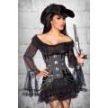 ATIXO Piratenkleid / Long-Bluse (black)
