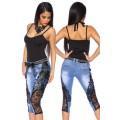 ATIXO Capri-Jeans mit Spitze (blue / black)