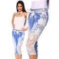 ATIXO Capri-Jeans mit Spitze (blau / creme)
