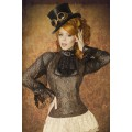 ATIXO Jabot-Bluse (black / brown)