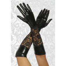 BEAUTYS LOVE Wetlook-Handschuhe mit Spitze (black)