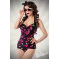 BELSIRA Vintage-Badeanzug (schwarz / pink)