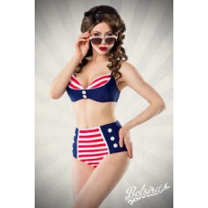 BELSIRA Vintage-Bikini (blue / red / white)