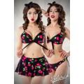 BELSIRA 3-teiliges Vintage-Bikini-Set mit Rock (schwarz / pink)