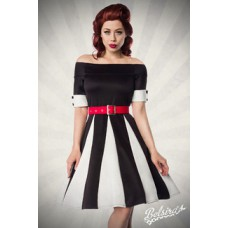 BELSIRA Godet-Kleid (black White Red)