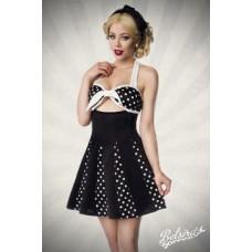 BELSIRA Godet-Kleid mit Schleife (black-and-white)
