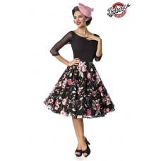 BELSIRA Premium besticktes Vintage-Swingkleid (black / pink)