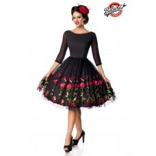 BELSIRA besticktes Premium Vintage Swingkleid (black)