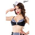 BELSIRA Vintage-Bikinioberteil (black / white / blue)