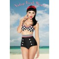 DESIGN BY ATIXO Vintage-Push-Up-Bikini (black / patterned)