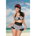 DESIGN BY ATIXO Vintage-Push-Up-Bikini (White black)